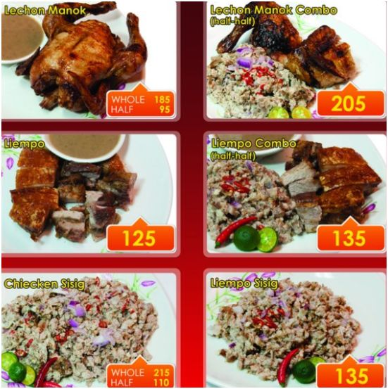 Lembest lechon manok product menu board